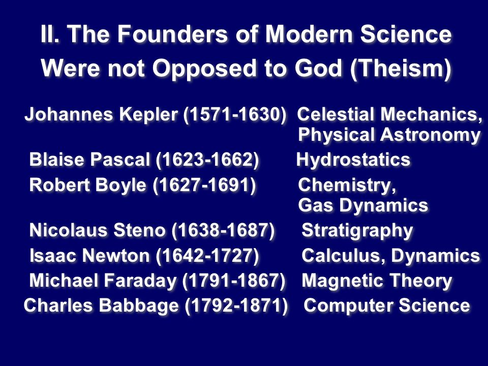 II. The Founders of Modern Science Were not Opposed to God (Theism)