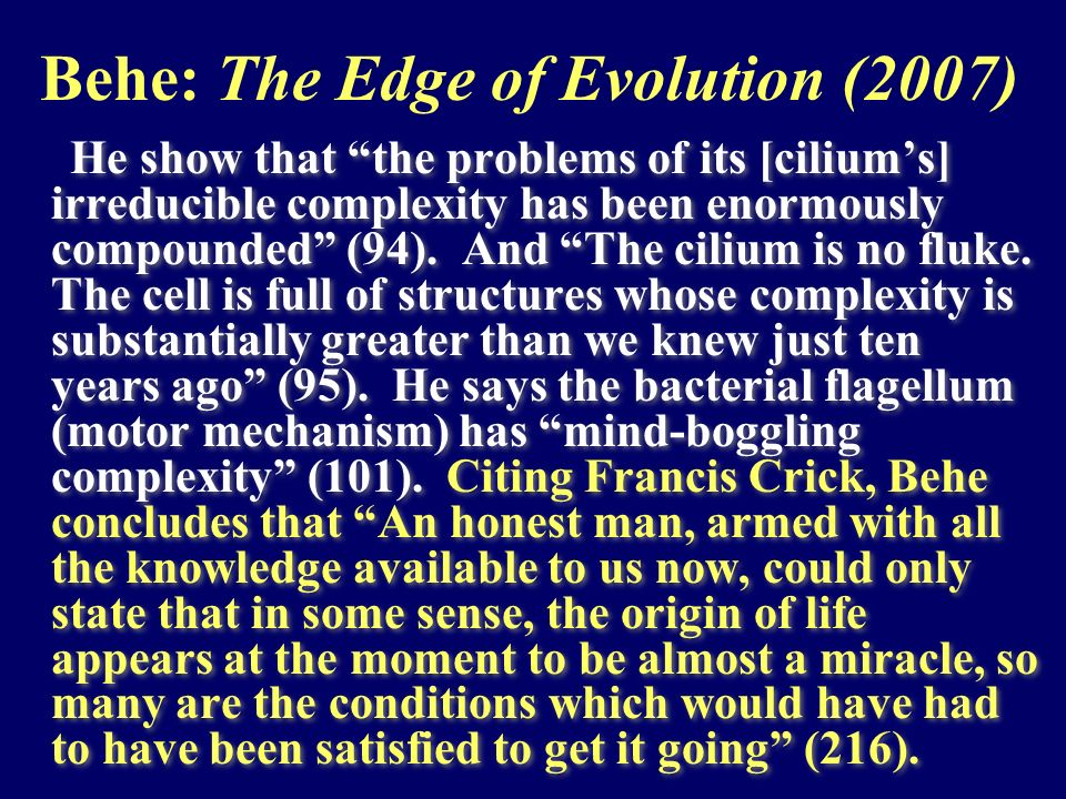 Behe: The Edge of Evolution (2007)