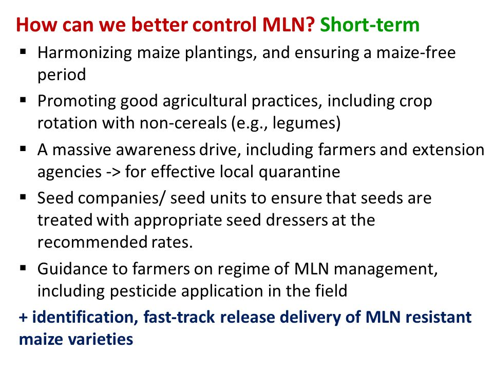 How can we better control MLN Short-term