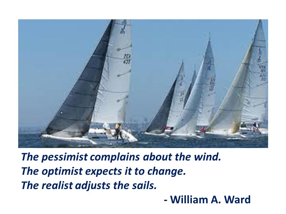 The pessimist complains about the wind.