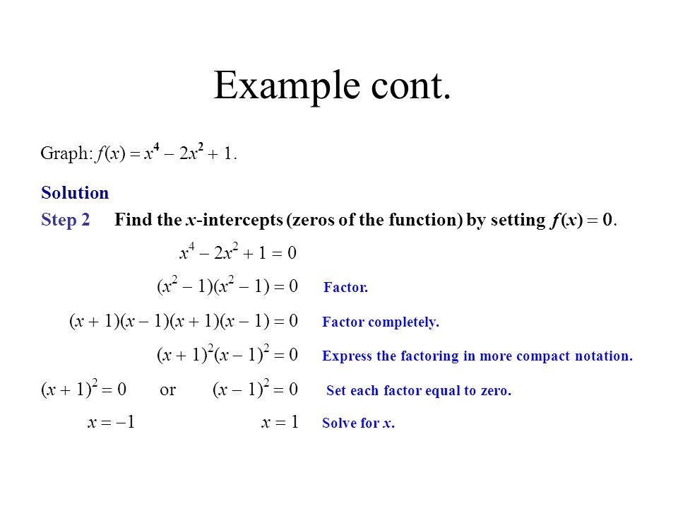 Example cont. Graph: f (x) = x4 - 2x2 + 1. Solution