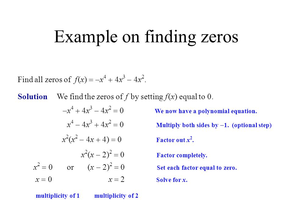 Example on finding zeros