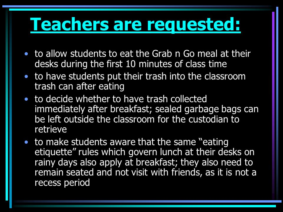 Teachers are requested: