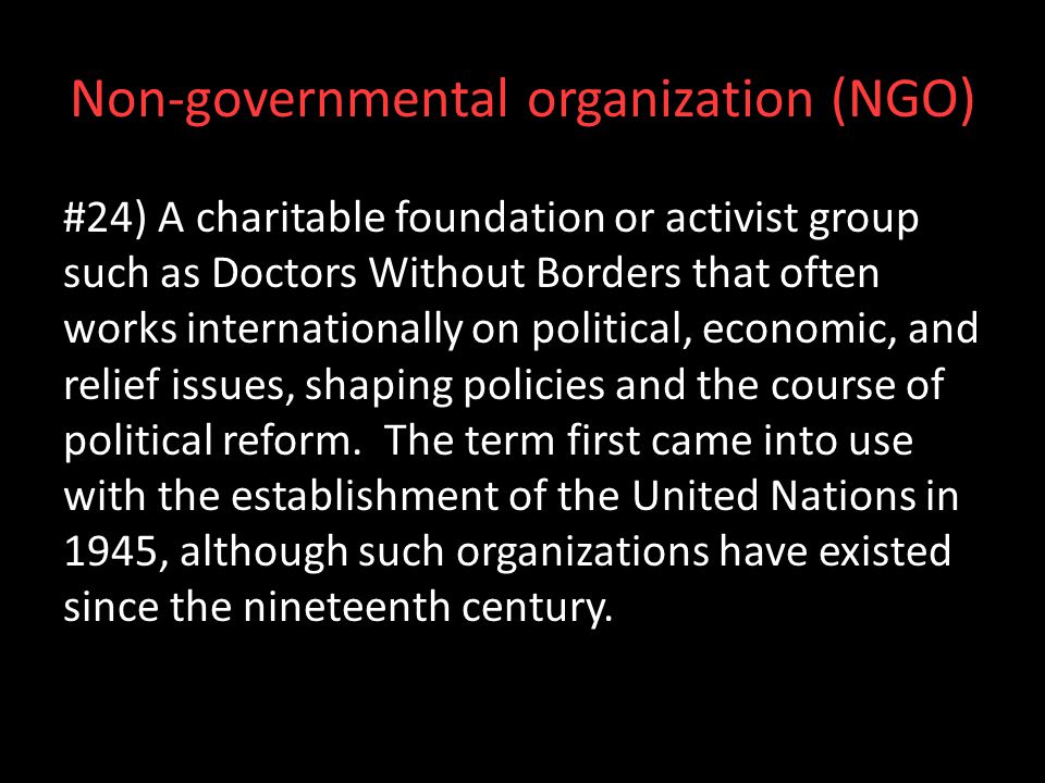 Non-governmental organization (NGO)