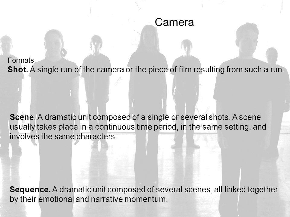 Camera Formats. Shot. A single run of the camera or the piece of film resulting from such a run.