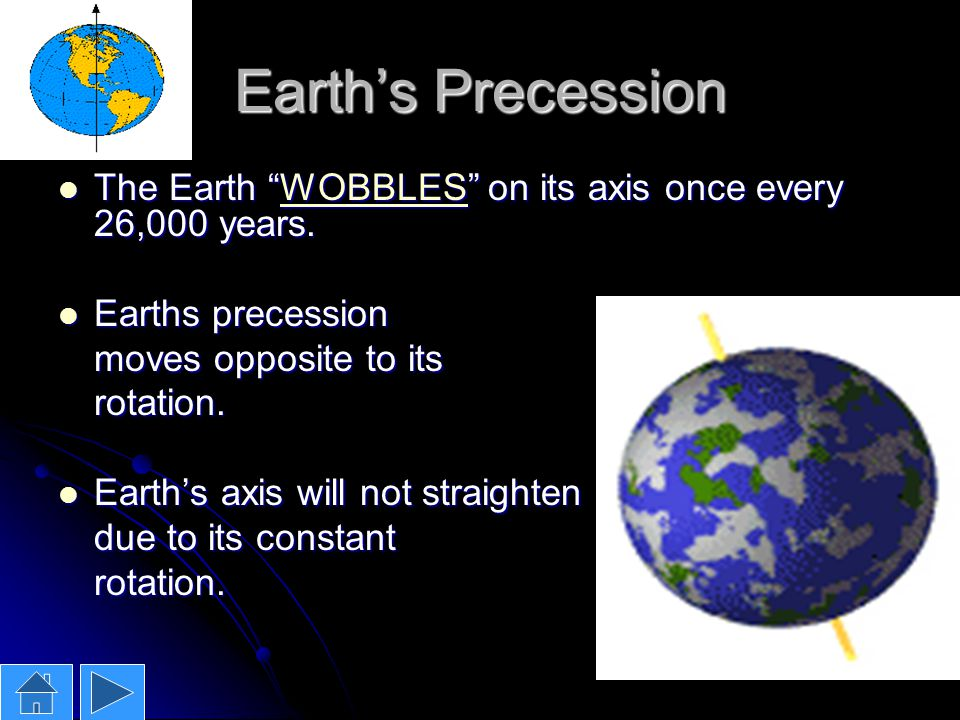 Earth's Precession The Earth WOBBLES on its axis once every 26,000 years. Earths precession. moves opposite to its.