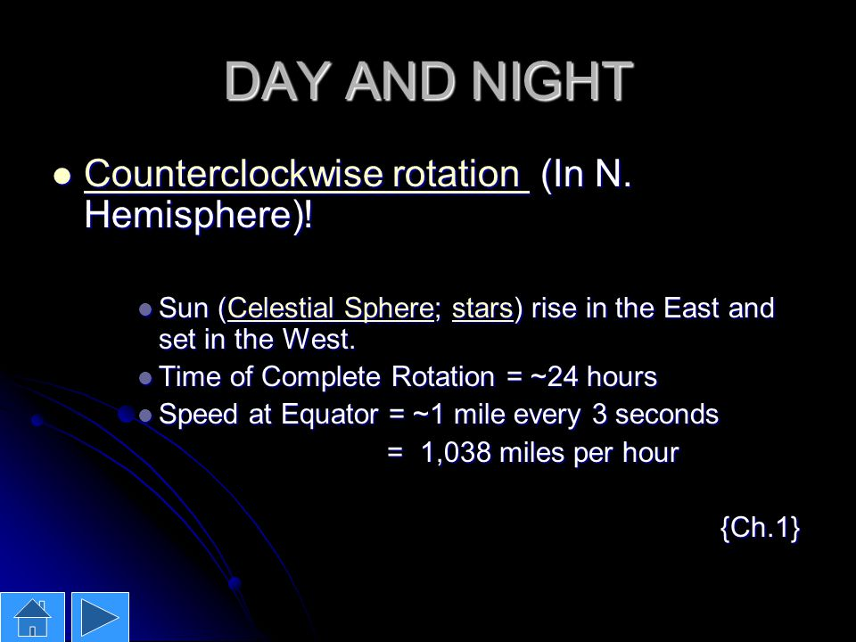 DAY AND NIGHT Counterclockwise rotation (In N. Hemisphere)!