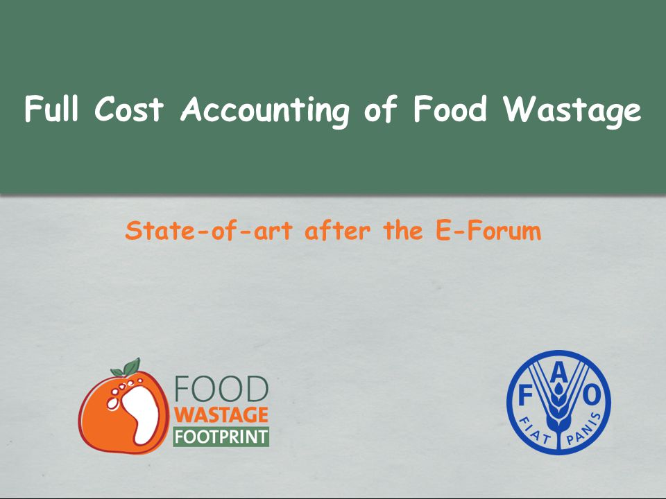Full Cost Accounting of Food Wastage State-of-art after the E-Forum