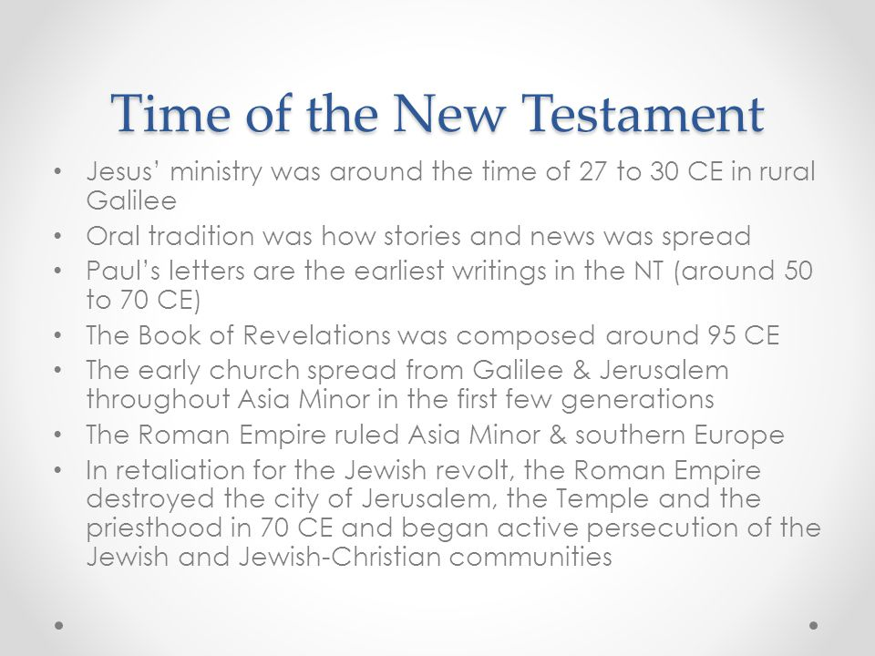 Time of the New Testament