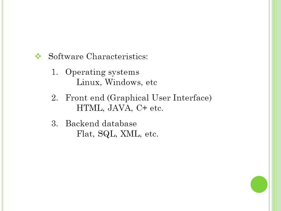 Software Characteristics:
