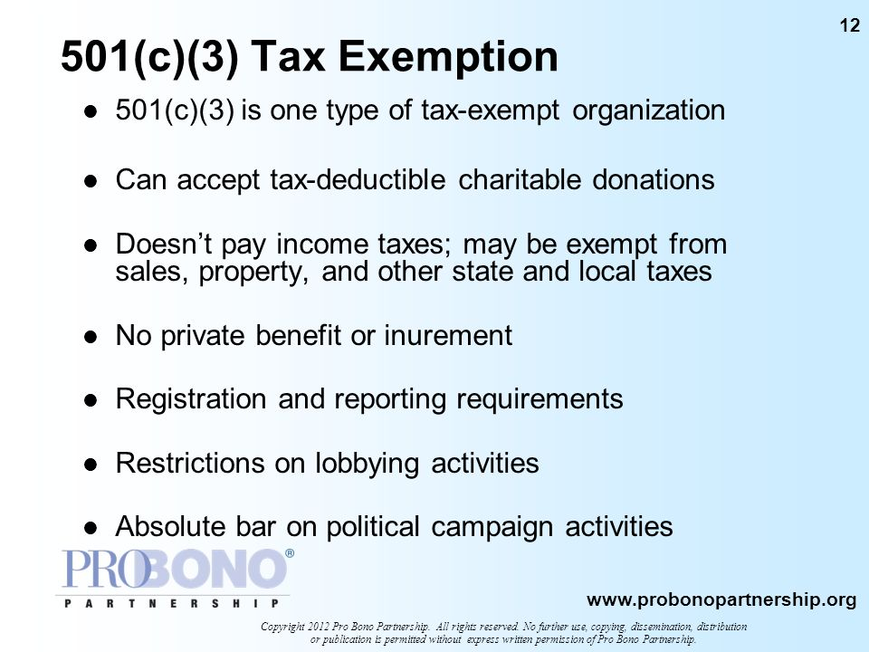 501(c)(3) Tax Exemption501(c)(3) is one type of tax-exempt organization. Can accept tax-deductible charitable donations.