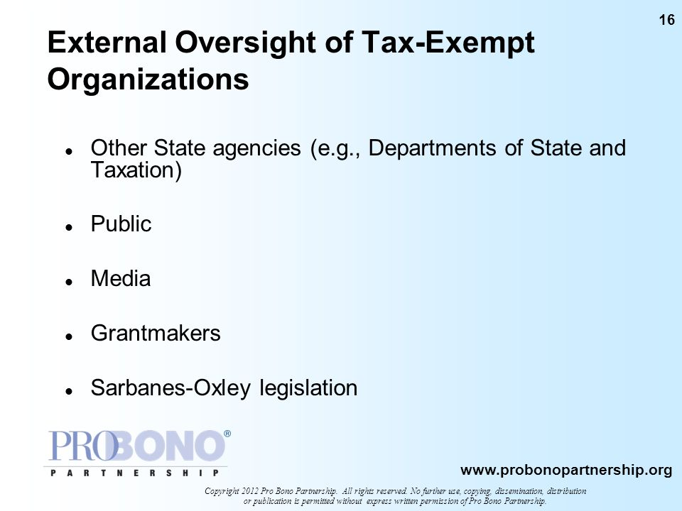 External Oversight of Tax-Exempt Organizations
