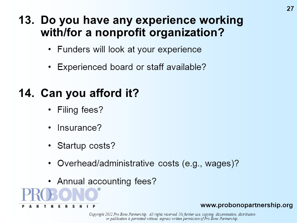 13. Do you have any experience working with/for a nonprofit organization