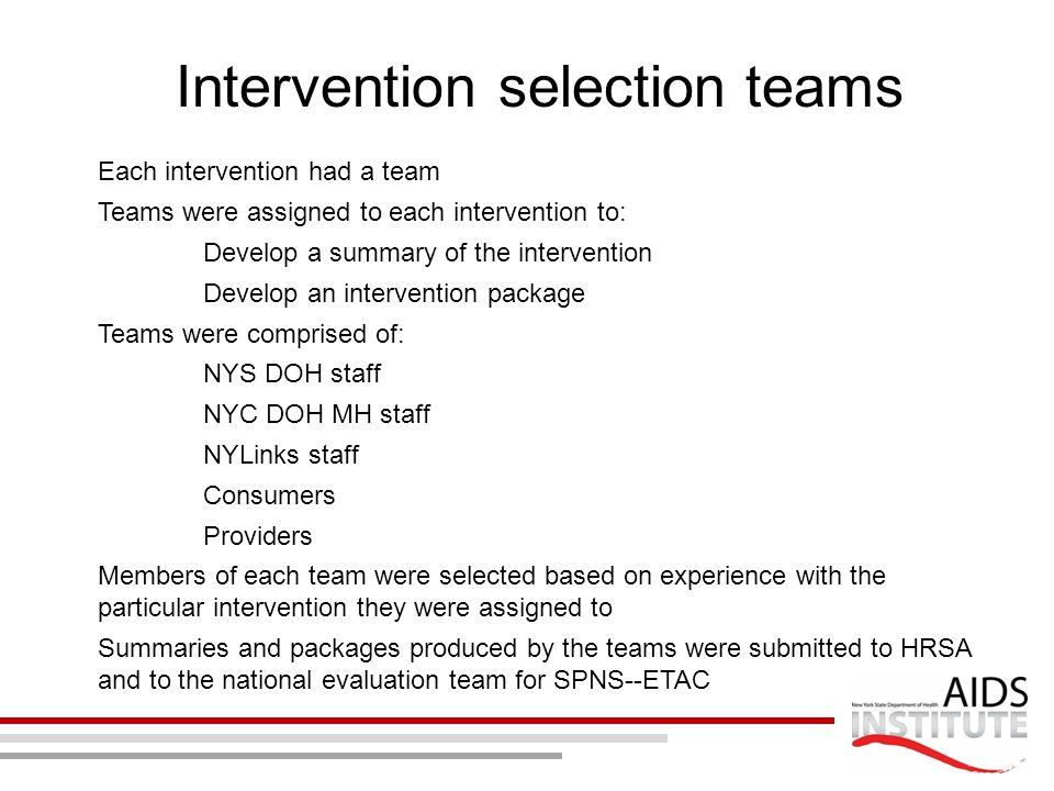 Intervention selection teams