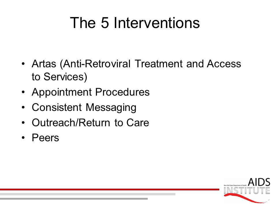 The 5 Interventions Artas (Anti-Retroviral Treatment and Access to Services) Appointment Procedures.