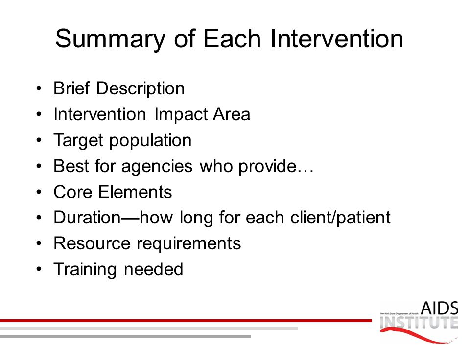 Summary of Each Intervention