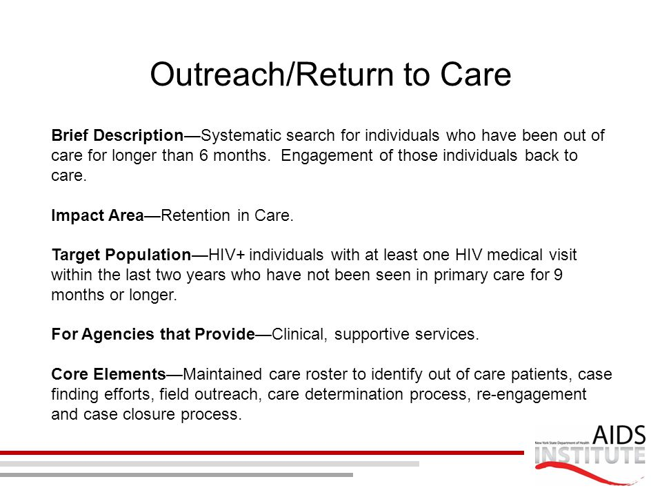 Outreach/Return to Care