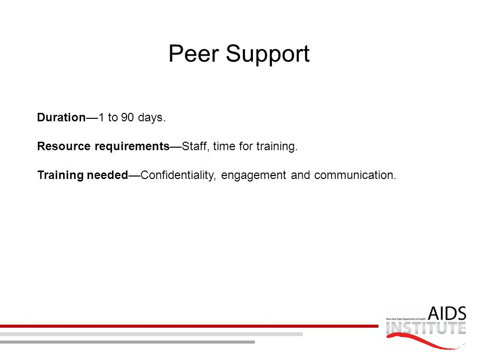 Peer Support Duration—1 to 90 days.