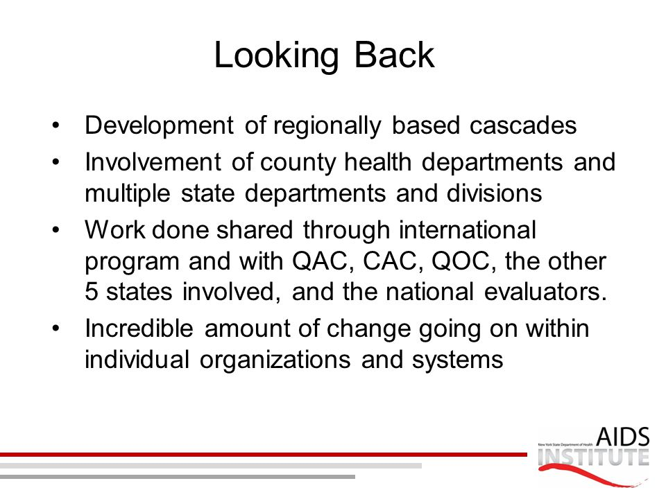 Looking Back Development of regionally based cascades