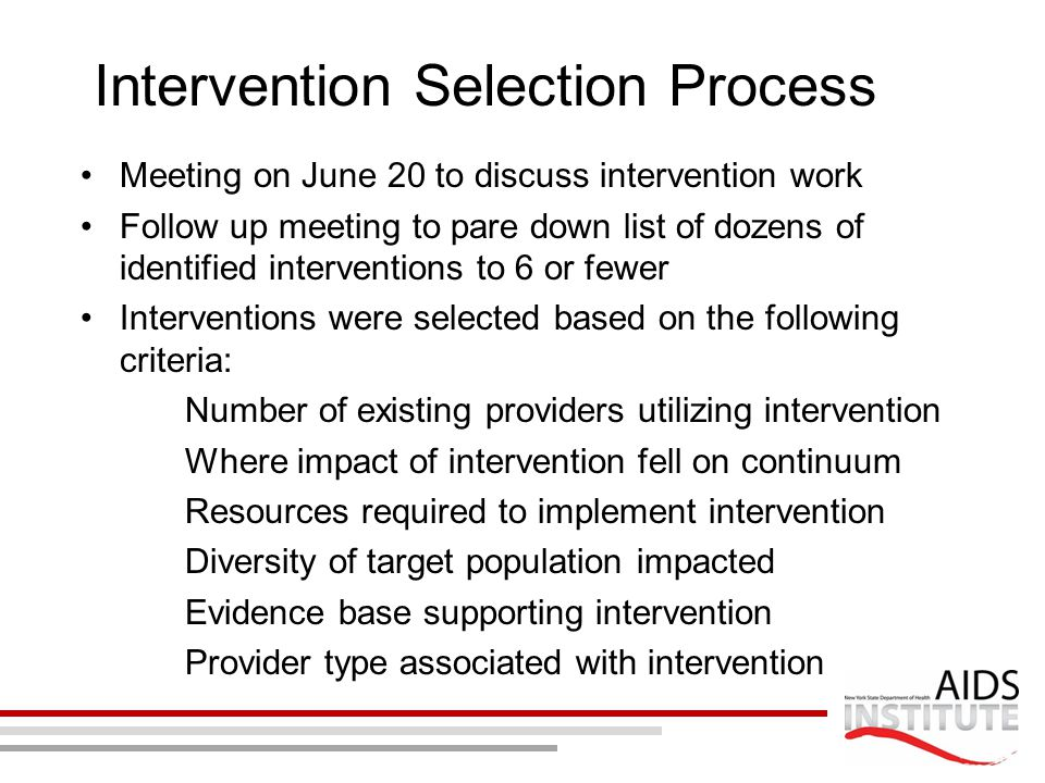 Intervention Selection Process