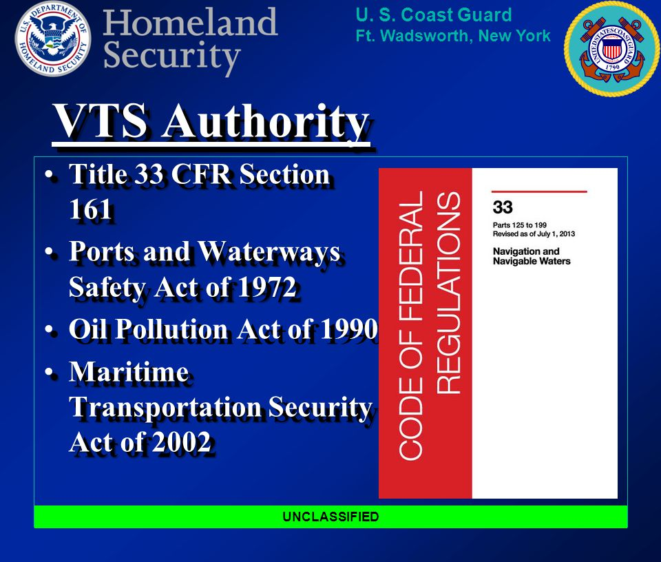 VTS Authority Title 33 CFR Section 161