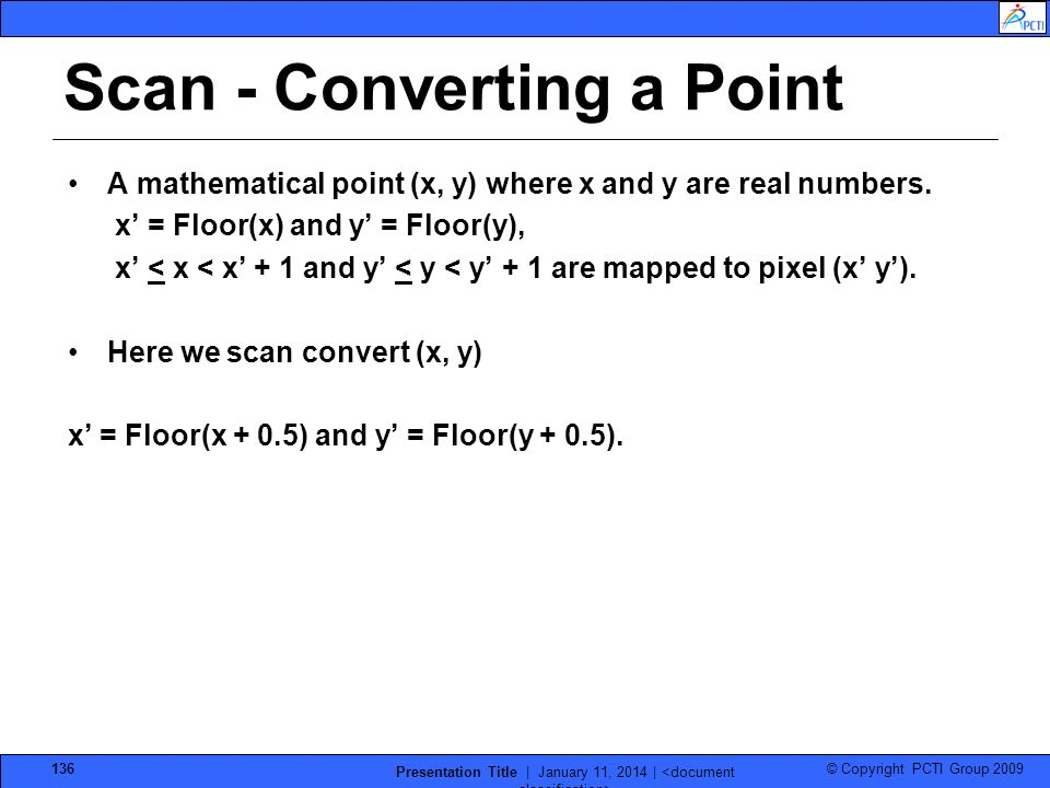 Scan - Converting a Point