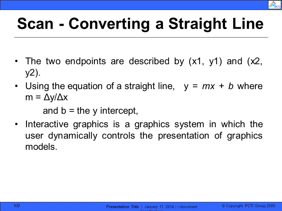 Scan - Converting a Straight Line