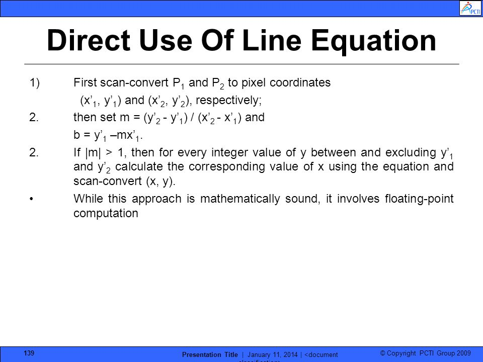 Direct Use Of Line Equation