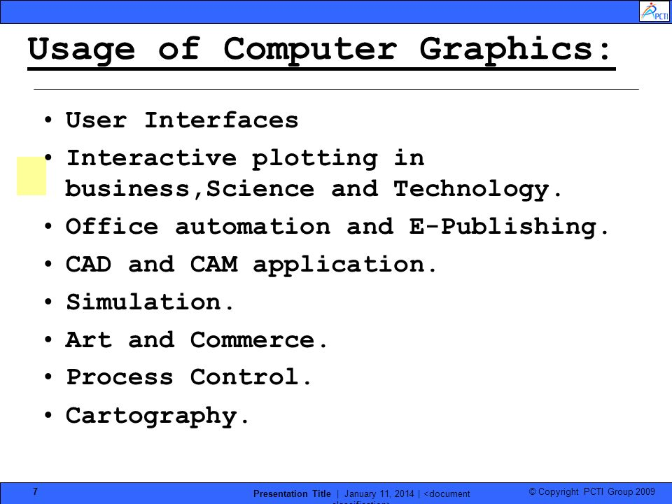 Usage of Computer Graphics: