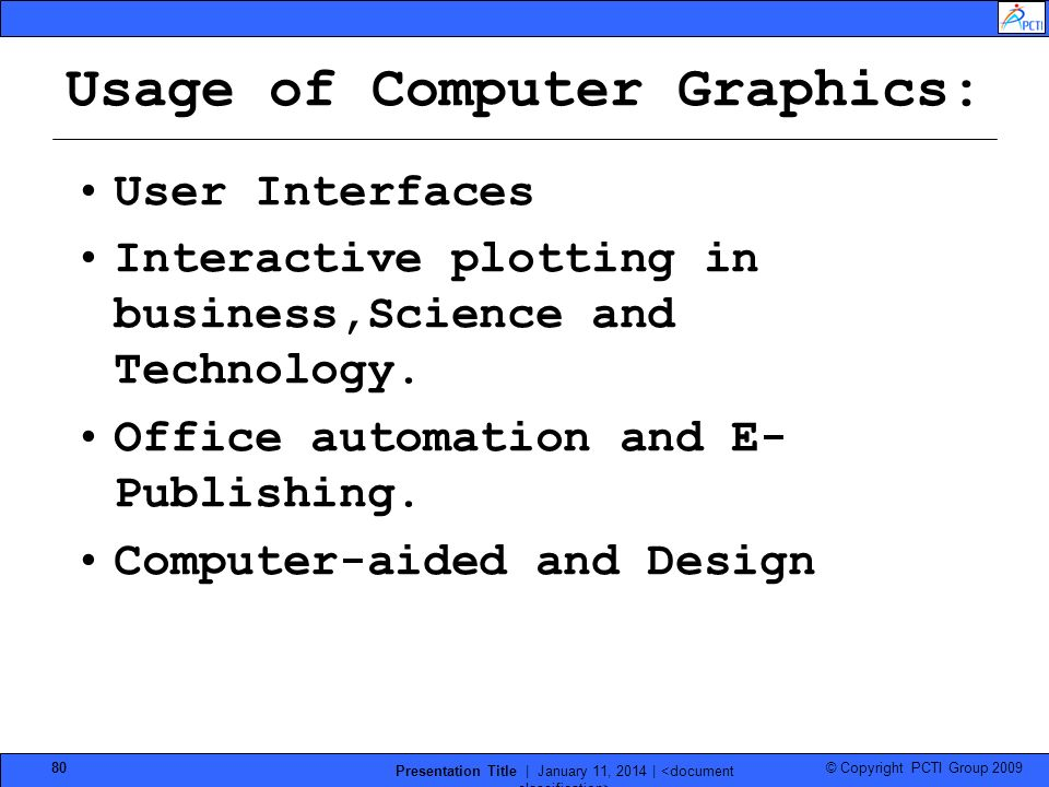 Usage of Computer Graphics: