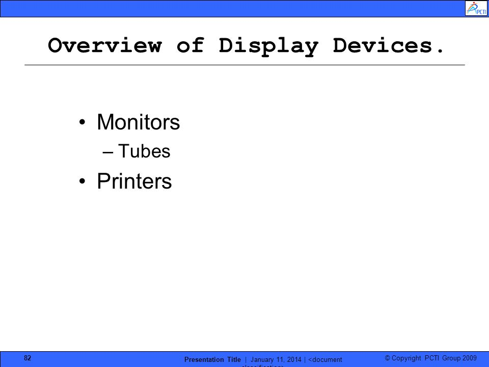 Overview of Display Devices.