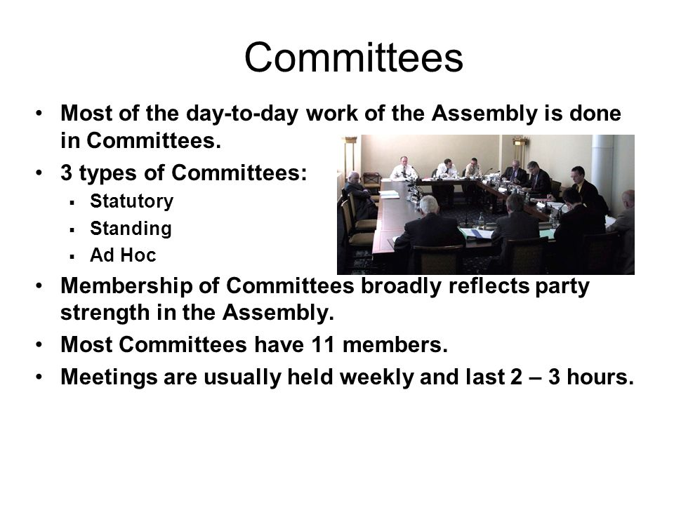 Committees Most of the day-to-day work of the Assembly is done in Committees. 3 types of Committees: