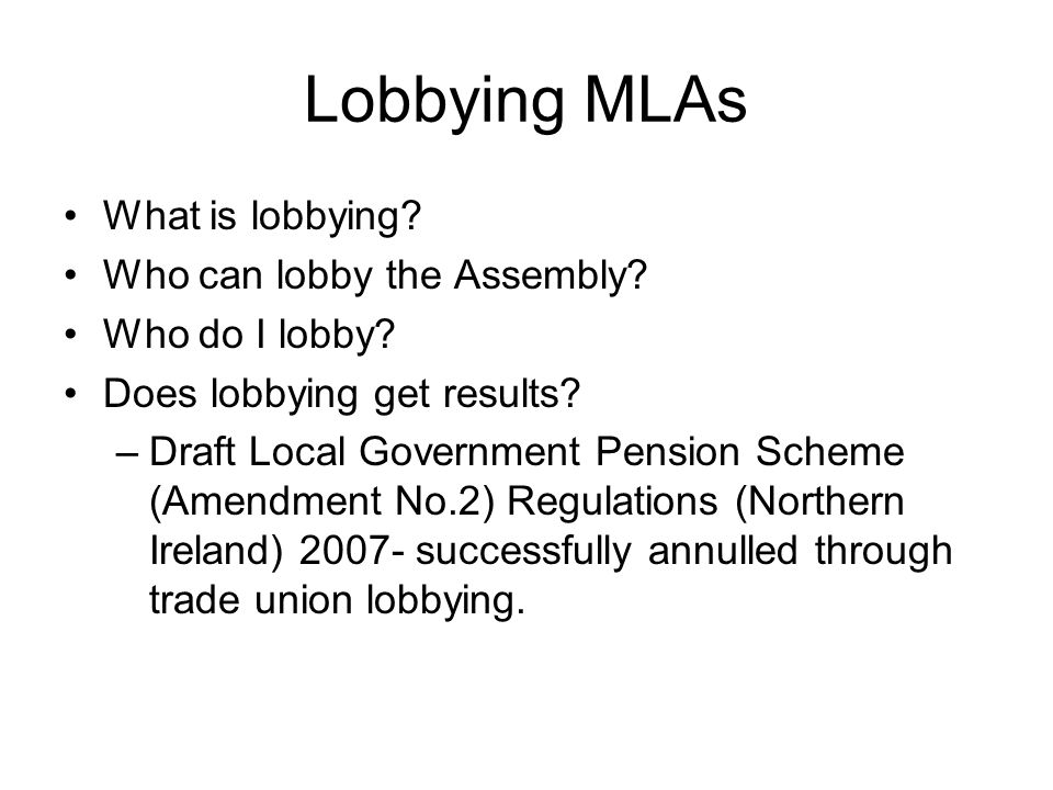 Lobbying MLAs What is lobbying Who can lobby the Assembly