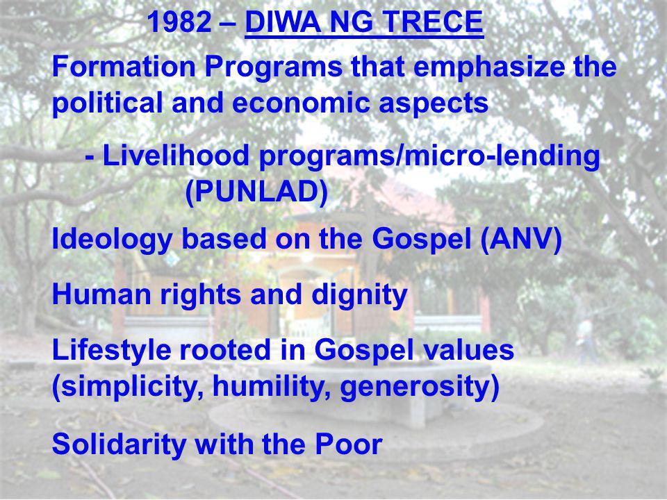 1982 – DIWA NG TRECE Formation Programs that emphasize the political and economic aspects. - Livelihood programs/micro-lending (PUNLAD)