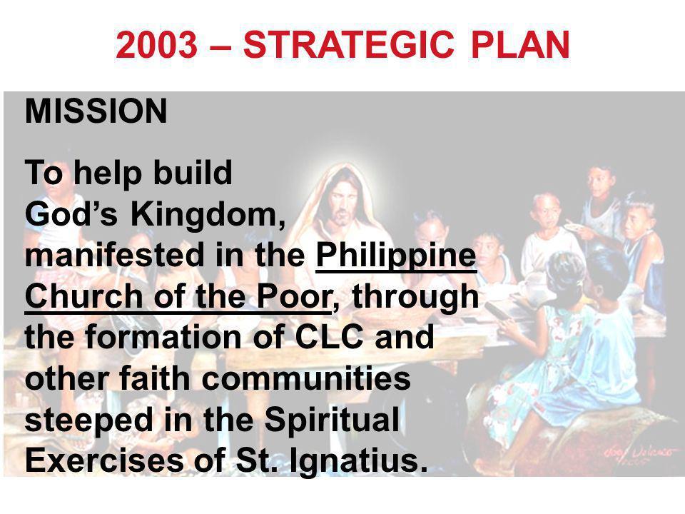 2003 – STRATEGIC PLAN MISSION