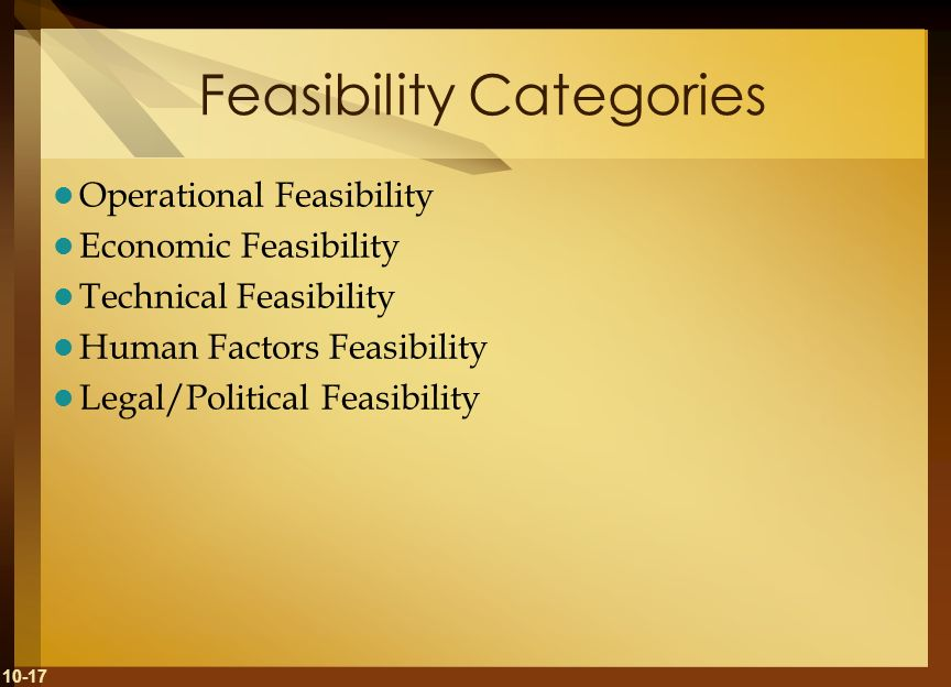 Feasibility Categories