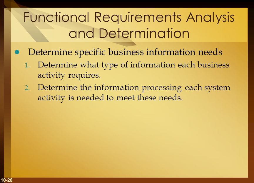 Functional Requirements Analysis and Determination