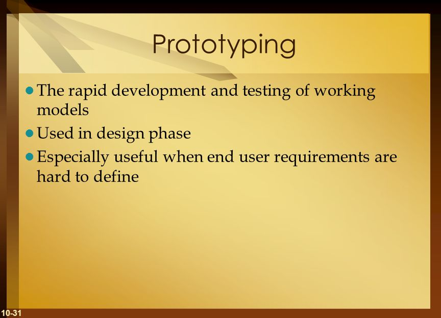 Prototyping The rapid development and testing of working models