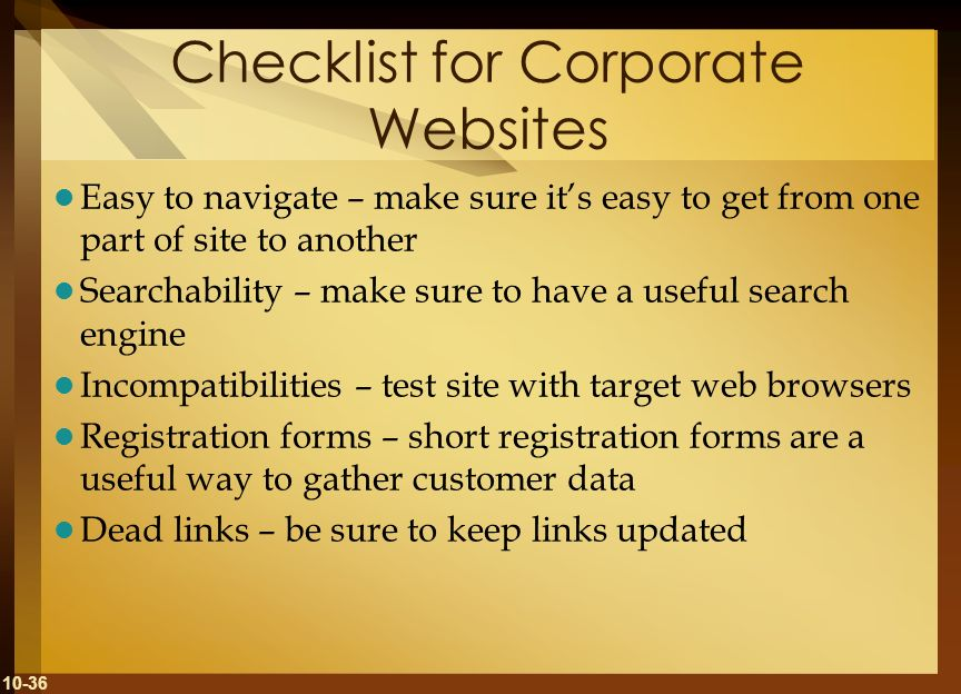 Checklist for Corporate Websites