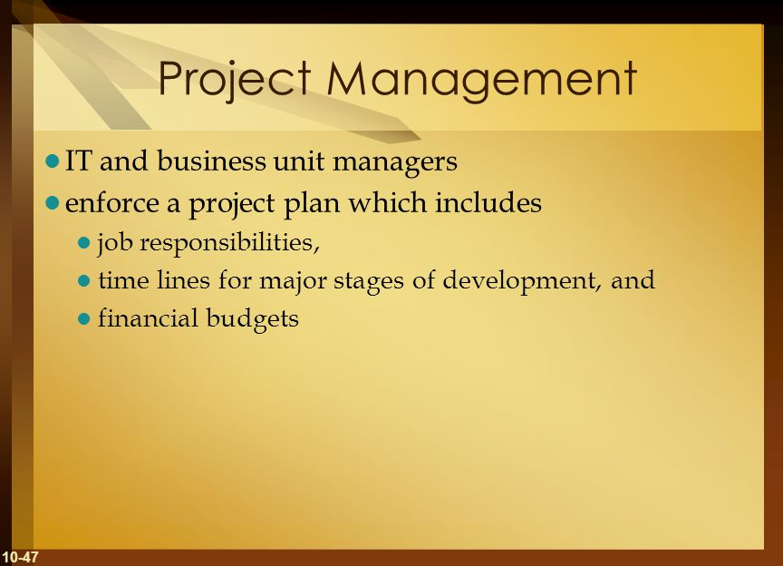 Project Management IT and business unit managers