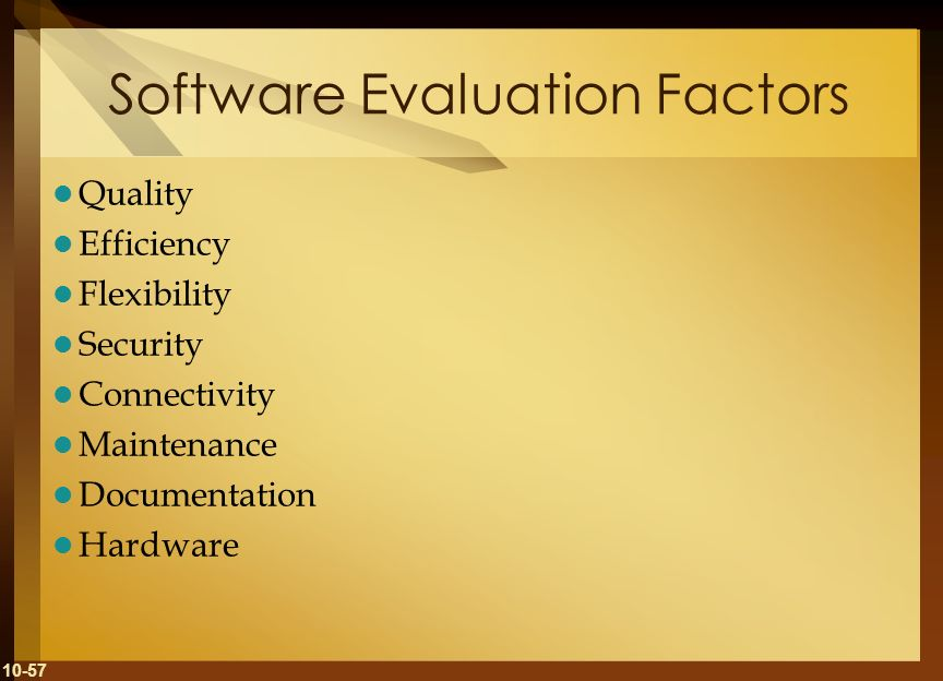 Software Evaluation Factors