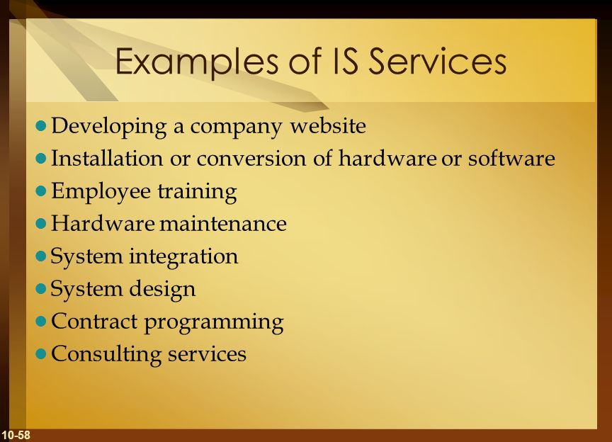 Examples of IS Services