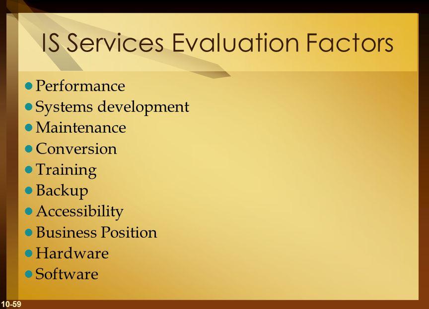 IS Services Evaluation Factors