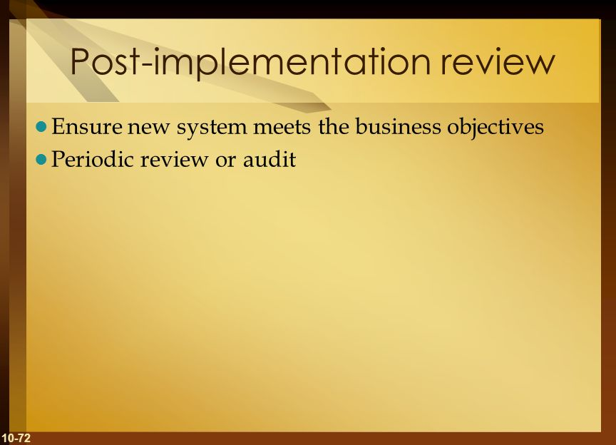 Post-implementation review