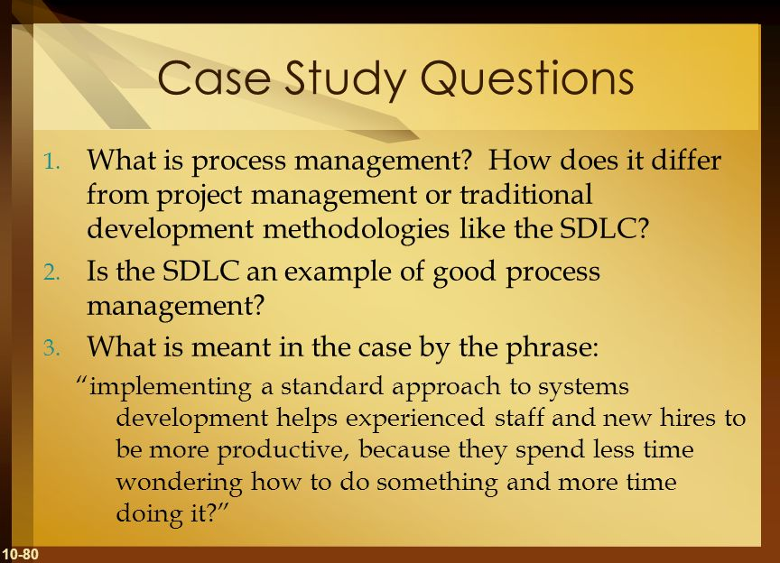 Case Study Questions What is process management How does it differ from project management or traditional development methodologies like the SDLC