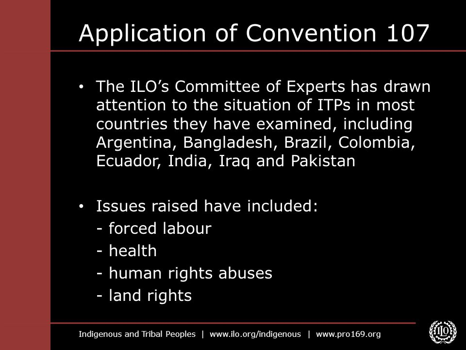 Application of Convention 107