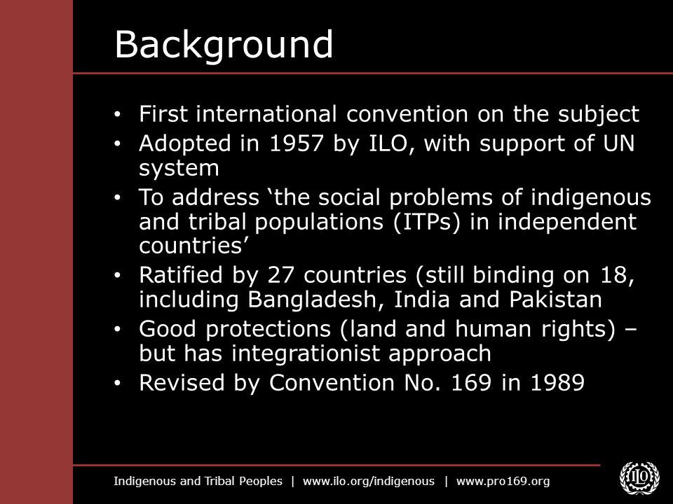 Background First international convention on the subject
