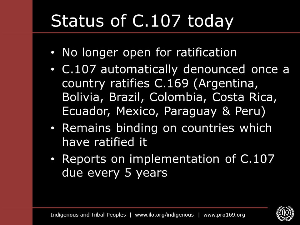 Status of C.107 today No longer open for ratification