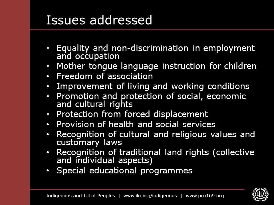 Issues addressed Equality and non-discrimination in employment and occupation. Mother tongue language instruction for children.