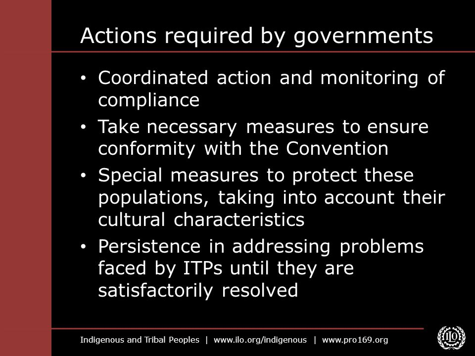 Actions required by governments